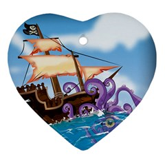 Pirate Ship Attacked By Giant Squid cartoon. Heart Ornament (Two Sides)
