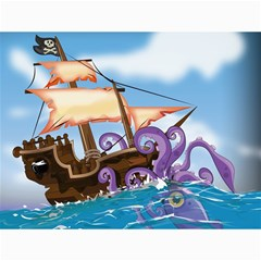 Pirate Ship Attacked By Giant Squid cartoon. Canvas 12  x 16  (Unframed)