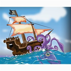 Pirate Ship Attacked By Giant Squid cartoon. Canvas 16  x 20  (Unframed)