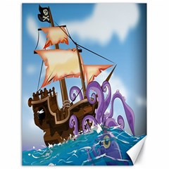 Pirate Ship Attacked By Giant Squid cartoon. Canvas 18  x 24  (Unframed)
