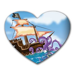 Pirate Ship Attacked By Giant Squid cartoon. Mouse Pad (Heart)