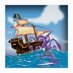 Pirate Ship Attacked By Giant Squid cartoon. Glasses Cloth (Medium, Two Sided)