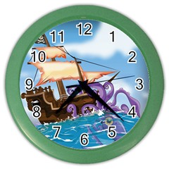 Pirate Ship Attacked By Giant Squid cartoon. Wall Clock (Color)