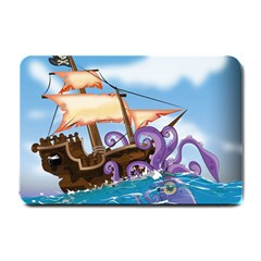 Pirate Ship Attacked By Giant Squid cartoon. Small Door Mat