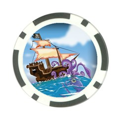 Pirate Ship Attacked By Giant Squid cartoon. Poker Chip