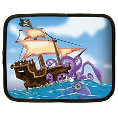 Pirate Ship Attacked By Giant Squid cartoon. Netbook Sleeve (Large)