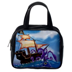 Pirate Ship Attacked By Giant Squid cartoon. Classic Handbag (One Side)