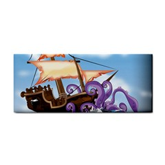 Pirate Ship Attacked By Giant Squid cartoon. Hand Towel