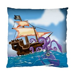 Pirate Ship Attacked By Giant Squid cartoon. Cushion Case (Two Sided)