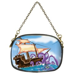 Pirate Ship Attacked By Giant Squid Cartoon  Chain Purse (two Sided)