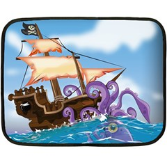 Pirate Ship Attacked By Giant Squid cartoon. Mini Fleece Blanket (Two Sided)