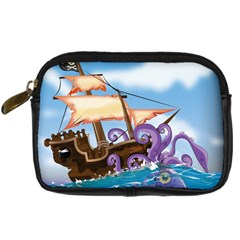 Pirate Ship Attacked By Giant Squid Cartoon  Digital Camera Leather Case