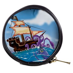 Pirate Ship Attacked By Giant Squid cartoon. Mini Makeup Case