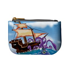 Pirate Ship Attacked By Giant Squid cartoon. Coin Change Purse