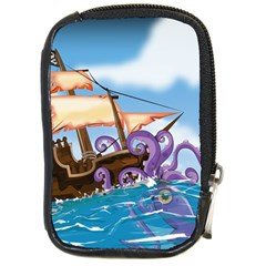 Pirate Ship Attacked By Giant Squid cartoon. Compact Camera Leather Case