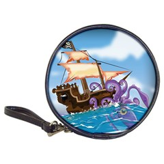 Pirate Ship Attacked By Giant Squid Cartoon  Cd Wallet