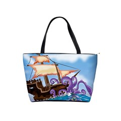 Pirate Ship Attacked By Giant Squid cartoon. Large Shoulder Bag