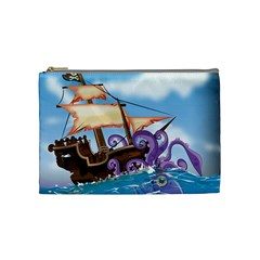 Pirate Ship Attacked By Giant Squid cartoon. Cosmetic Bag (Medium)