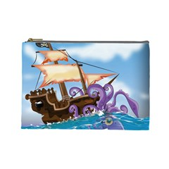 Pirate Ship Attacked By Giant Squid cartoon. Cosmetic Bag (Large)