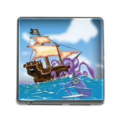 Pirate Ship Attacked By Giant Squid Cartoon  Memory Card Reader With Storage (square)
