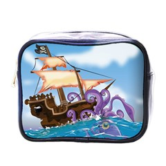 Pirate Ship Attacked By Giant Squid cartoon. Mini Travel Toiletry Bag (One Side)