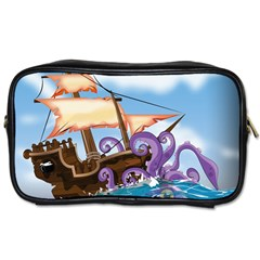 Pirate Ship Attacked By Giant Squid cartoon. Travel Toiletry Bag (One Side)