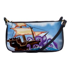 Pirate Ship Attacked By Giant Squid cartoon. Evening Bag