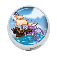 Pirate Ship Attacked By Giant Squid Cartoon  4 Port Usb Hub (one Side)