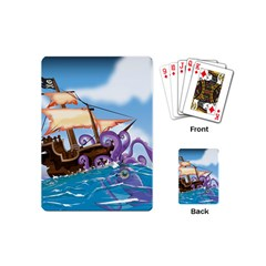 Pirate Ship Attacked By Giant Squid cartoon. Playing Cards (Mini)