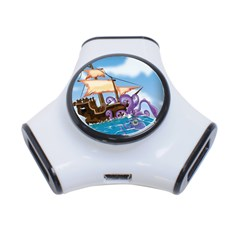 Pirate Ship Attacked By Giant Squid Cartoon  3 Port Usb Hub