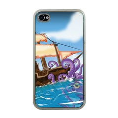 Pirate Ship Attacked By Giant Squid Cartoon  Apple Iphone 4 Case (clear)