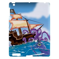 Pirate Ship Attacked By Giant Squid cartoon. Apple iPad 3/4 Hardshell Case