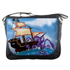 Pirate Ship Attacked By Giant Squid cartoon. Messenger Bag