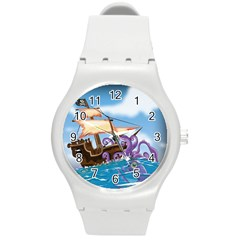 Pirate Ship Attacked By Giant Squid cartoon. Plastic Sport Watch (Medium)