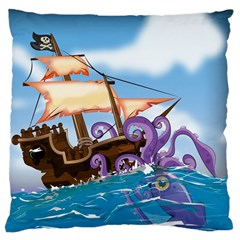 Pirate Ship Attacked By Giant Squid cartoon. Large Cushion Case (Two Sided)