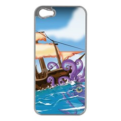 Pirate Ship Attacked By Giant Squid cartoon. Apple iPhone 5 Case (Silver)