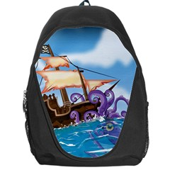 Pirate Ship Attacked By Giant Squid cartoon. Backpack Bag