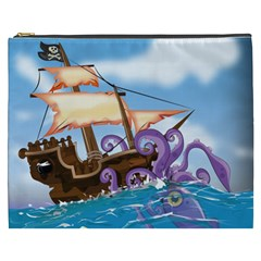Pirate Ship Attacked By Giant Squid cartoon. Cosmetic Bag (XXXL)