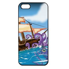 Pirate Ship Attacked By Giant Squid Cartoon  Apple Iphone 5 Seamless Case (black)