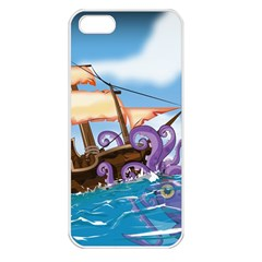 Pirate Ship Attacked By Giant Squid cartoon. Apple iPhone 5 Seamless Case (White)