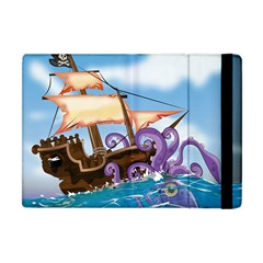 Pirate Ship Attacked By Giant Squid cartoon. Apple iPad Mini Flip Case