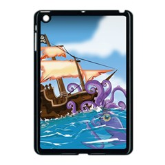Pirate Ship Attacked By Giant Squid cartoon. Apple iPad Mini Case (Black)