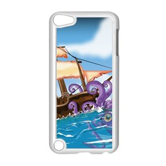 Pirate Ship Attacked By Giant Squid cartoon. Apple iPod Touch 5 Case (White)