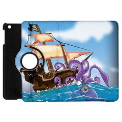 Pirate Ship Attacked By Giant Squid cartoon. Apple iPad Mini Flip 360 Case