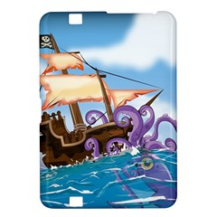 Pirate Ship Attacked By Giant Squid cartoon. Kindle Fire HD 8.9  Hardshell Case