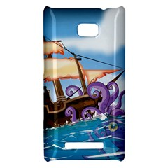 Pirate Ship Attacked By Giant Squid cartoon. HTC 8X Hardshell Case