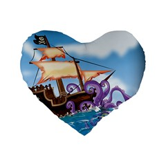 Pirate Ship Attacked By Giant Squid Cartoon  16  Premium Heart Shape Cushion