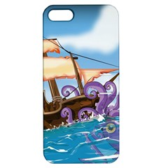 Pirate Ship Attacked By Giant Squid cartoon. Apple iPhone 5 Hardshell Case with Stand