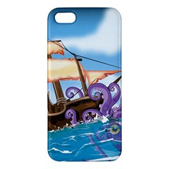 Pirate Ship Attacked By Giant Squid cartoon. iPhone 5 Premium Hardshell Case
