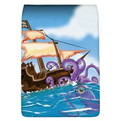 Pirate Ship Attacked By Giant Squid cartoon. Removable Flap Cover (Large)